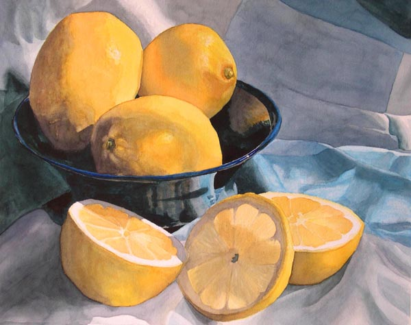 Lemons in a Blue Bowl